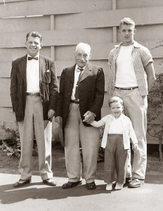 John Whitelaw, Jr. (my grandfather) in the center; to his left, his son John Moreland Whitelaw; to his right, holding his hand, John Whitelaw Rieke (grandson of John Whitelaw Jr.'s brother Henry) and John Moreland Whitelaw, Jr., his grandson. Portland, 1955.