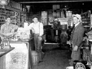 Pictured left to right: James, Henry and John Jr. in the family hardware store, about 1900.