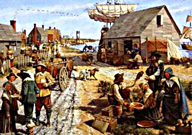 Colonial Rhode Islanders taking produce to market
