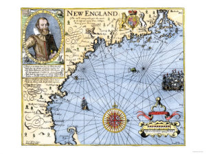 1609 Map of New England, by John Smith, the founder of Jamestown colony in Virginia. The pilgrims almost certainly had this map on the Mayflower.)