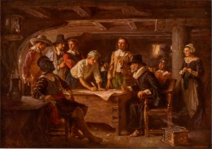 Artist's rendering of the signing of the Mayflower Compact on board the ship.
