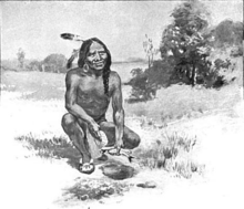 Squanto, an early benefactor of the pilgrims, teaching them how to plant corn using fish as fertilizer. Squanto had learned English from earlier explorers and had travelled to Europe. He was a key intermediary for the pilgrims in establishing good relations with the local inhabitants of Cape Cod.)