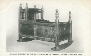 A pilgrim cradle, brought on the Mayflower, now at the Plymouth Historical Museum.