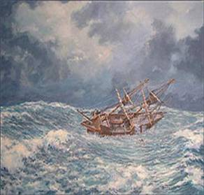 The Mayflower during one of the many squalls it endured. The crew had to lower the sails to keep the wind from breaking the masts, so the ship was simply tossed around on the sea, soaking the terrified passengers.