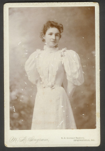 Pictured: Bertha at graduation from Drury College; 1895, Springfield, MO