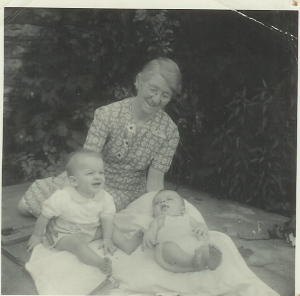 Bertha with grandsons John Whitelaw  (on left) and Bill Whitford, 1940, De Soto, Kansas