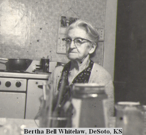 Bertha at her kitchen table, where she wrote her newspaper articles on a manual typewriter.