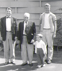The three men are John Moreland Whitelaw (1911-1974), his father John Whitelaw, Jr. (1870-1961), and John Moreland Whitelaw, Jr. (1939-).   All three carry the Whitelaw y-chromosome DNA. In front is John Whitelaw Rieke, whose mother is a Whitelaw. He does not carry the y-chromosome DNA because it only passes from father to son, but, like all the Whitelaw family, he has inherited Whitelaw genes in other parts of his DNA.