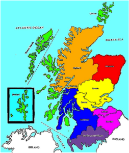Map of Scotland. The Ayrshire-Lanarkshire region is dark blue. This area was historically called Strathclyde.