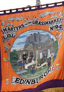 A banner commemorating the execution of Covenanter prisoners in Edinburgh.