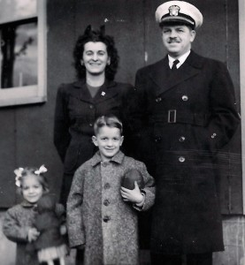 John, Lt. in the Naval Reserve, Alvis, and children Susan and John, 1945, Stewart Heights, WA