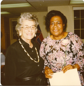 Alvis Whitelaw with one of her staff at the time of her retirement from Metropolitan Family Serivice, 1976, Portland, OR