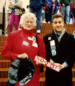 Alvis and friend Randall Stewart, at a political rally in the 1980s on a rainy day, Portland, OR