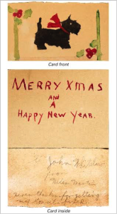 "Christmas card that reads: ""To John Whitelaw from Helen Martin. Here's thanks for getting my tonsils fixed."" One of John's tasks was to help people get basic medical care, using a combination of private charity and federal dollars."