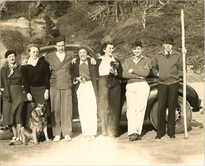 Welfare staff picnic on Memorial Day 1938 at the Oregon Coast. Here John and Alvis began a serious relationship. Alvis and John are third and second from right. Norris Class, who hired John and many other young social workers from around the country, is on the far right.
