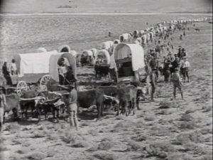 "Still shot from the 1923 movie ""The Covered Wagon"""