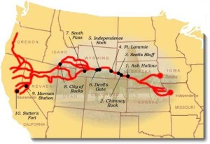 Map of the trails to California during the Gold Rush.