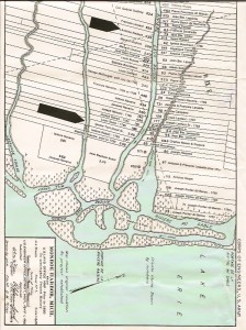 Map of Monroe, MI ribbon farms, including those of Marcellisse's grandparents. The upper black arrow shows Antoine Nadeau's 539 acre farm; the lower black arrow shows Ignace Tuot Duval Sr.'s 346 acre farm. Original map located at the Monroe Historical Society.