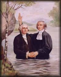 John Gano, Baptist minister, baptizing George Washington at Valley Forge. The authenticity of this alleged event is much disputed.