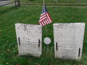 Robert and Susan Love tombstones, with medallion for service in War of 1812.  Fairview Cemetery, Bridgewater, NY.  Photo by  Judylove1157 at ancestry.com