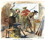 Colonial blacksmiths forging arms during the Revolutionary War