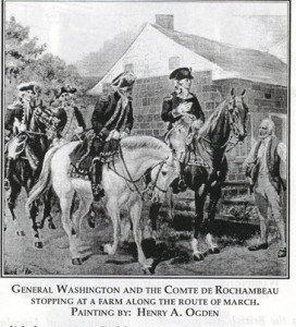 This picture shows General Washington in Rhode Island in 1780. However, according to W.D. Love, Washington passed the Love homestead in either 1776 or 1781 (p. 36).
