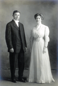Olin Love and Mabel Goulet at the time of their wedding, Woodburn, Oregon, 1910