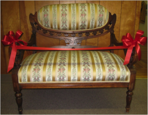 Hanna Love's loveseat, which she brought from Michigan to California, now in the Historical Museum, Livingston, California