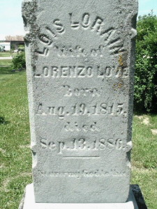 Lois Love Tombstone, Burlington Cemetery, Burlington, MI. Photo Susan Whitelaw 1995.