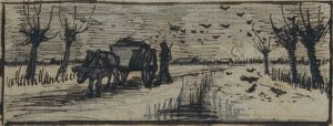 Ox cart in snow, Vincent Van Gogh, 1884
