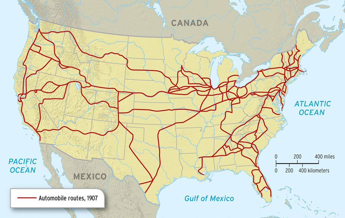automobile routes 1907