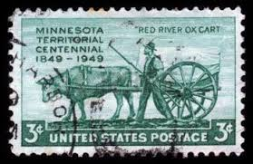 Postage Stamp commemorating the role of the ox cart in American settlement