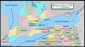 Map of Western New York and Ontario, Canada