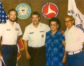 Roger Schartzer, swearing-in ceremony to Coast Guard (grandson of Charles Love) center, with parents Ruth and Vernal Schartzer on right and Coast Guard staff on the left, 1979, Phoenix, AZ. Photo archive of Fran Bryanton. Courtesy Roger Schartzer.